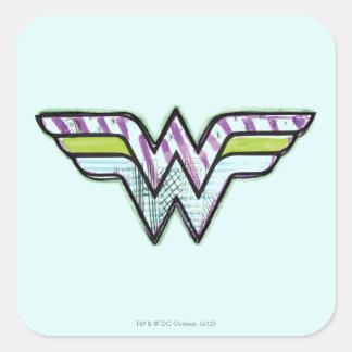 Logotipo colorido del bosquejo de la Mujer Calcomanias Cuadradas