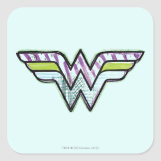 Logotipo colorido del bosquejo de la Mujer Pegatina Cuadrada