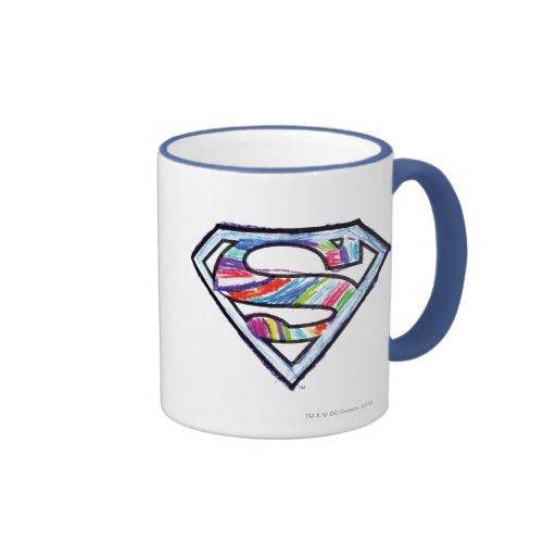 Logotipo colorido del bosquejo de Supergirl Tazas
