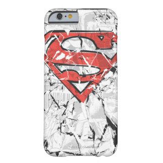 Logotipo cómico arrugado del superhombre funda de iPhone 6 barely there
