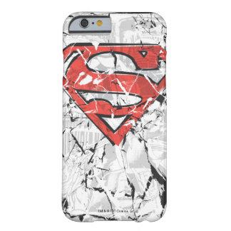 Logotipo cómico arrugado del superhombre funda para iPhone 6 barely there