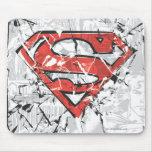 Logotipo cómico arrugado del superhombre tapetes de ratones