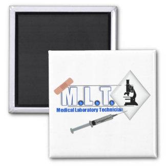 LOGOTIPO con el MICROSCOPIO - TECNOLOGÍA de MLT de Imán Cuadrado