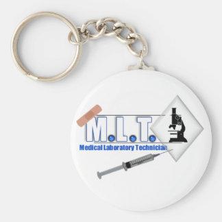 LOGOTIPO con el MICROSCOPIO - TECNOLOGÍA de MLT de Llavero Redondo Tipo Pin