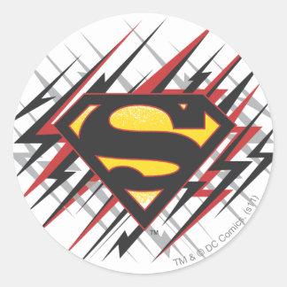 Logotipo con huelgas negras y del rojo pegatina redonda