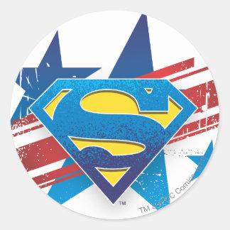 Logotipo con las barras y estrellas pegatina redonda