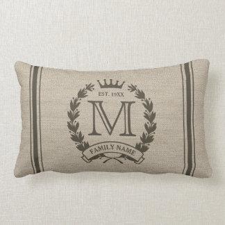 Logotipo con monograma inicial de encargo de la almohada