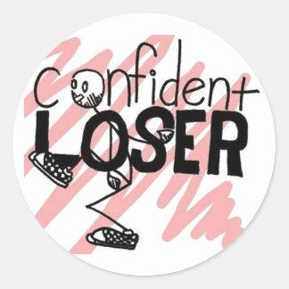 Logotipo confiado del perdedor pegatina redonda