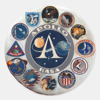 Logotipo conmemorativo del programa Apollo Pegatina Redonda