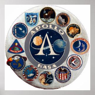 Logotipo conmemorativo del programa Apollo Póster