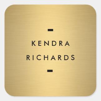 Logotipo conocido del oro pegatina cuadrada
