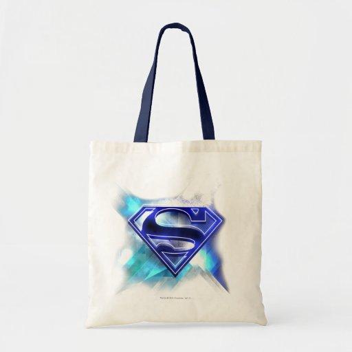 Logotipo cristalino Azul-Blanco del superhombre Bolsa Lienzo