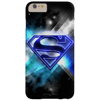 Logotipo cristalino Azul-Blanco del superhombre Funda De iPhone 6 Plus Barely There