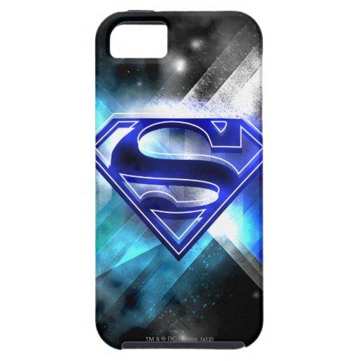 Logotipo cristalino Azul-Blanco del superhombre iPhone 5 Carcasas