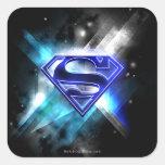 Logotipo cristalino Azul-Blanco del superhombre Pegatina Cuadrada