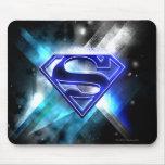 Logotipo cristalino Azul-Blanco del superhombre Tapete De Ratones