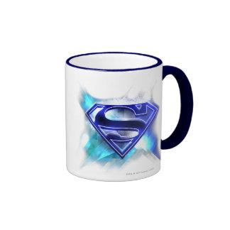 Logotipo cristalino Azul-Blanco del superhombre Tazas