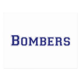 Logotipo cuadrado de los bombarderos en azul tarjetas postales