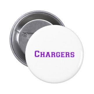 Logotipo cuadrado de los cargadores en púrpura pin redondo 5 cm