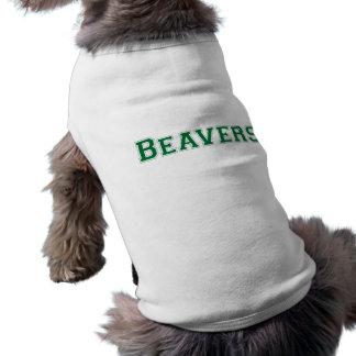 Logotipo cuadrado de los castores en verde playera sin mangas para perro