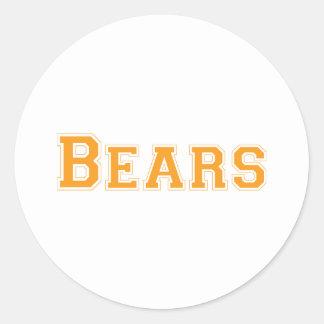 Logotipo cuadrado de los osos en naranja pegatina redonda