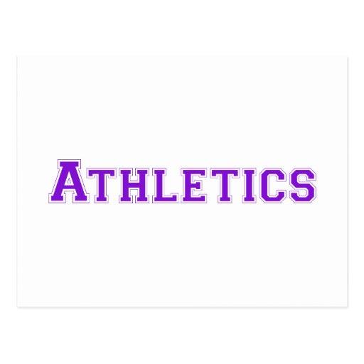 Logotipo cuadrado del atletismo en púrpura tarjeta postal