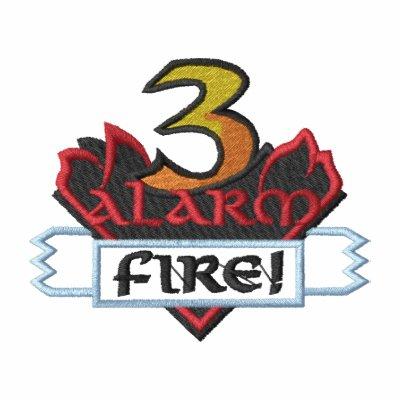 Logotipo de 3 alarmas sudadera bordada con capucha