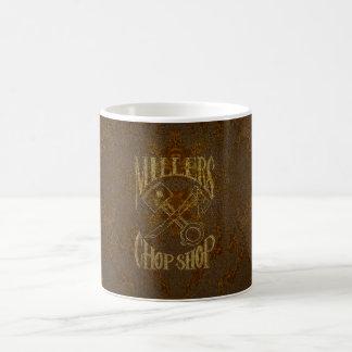 Logotipo de acero oxidado con los remaches taza de café