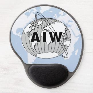 Logotipo de AIW en mapa del mundo Alfombrilla Con Gel