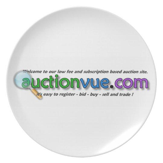 logotipo de auctionvue.com sin el martillo de la s plato de cena