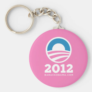 """Logotipo de Barack Obama 2012 """"O"""" (rosa) Llavero Redondo Tipo Pin"""
