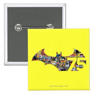Logotipo de Batman 75 - cubiertas cómicas Pin Cuadrado