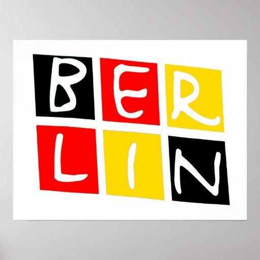 Logotipo de Berlín, Alemania en cuadrados Póster