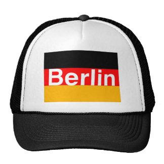 Logotipo de Berlín en blanco en bandera alemana Gorros