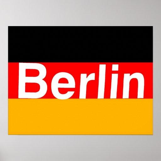 Logotipo de Berlín en blanco en bandera alemana Impresiones