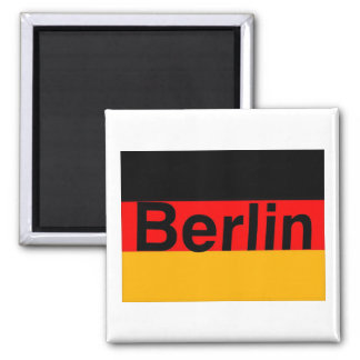 Logotipo de Berlín en negro en bandera alemana Imanes