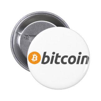 Logotipo de Bitcoin + texto Pin Redondo 5 Cm