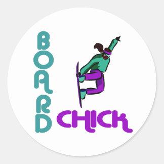 Logotipo de BoardChick Pegatina Redonda
