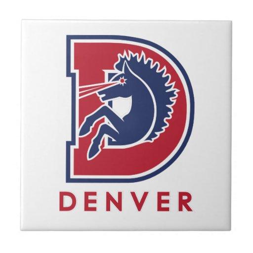 Logotipo de D Denver Azulejo Cuadrado Pequeño