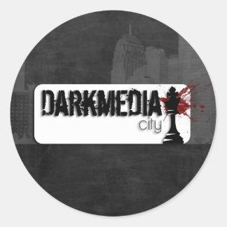 Logotipo de DarkMediaCity Pegatina Redonda