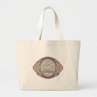 Logotipo de Devanagari OM del vintage Bolsa De Tela Grande