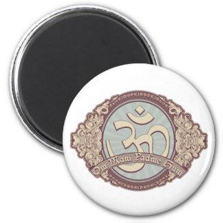 Logotipo de Devanagari OM del vintage Imán Redondo 5 Cm