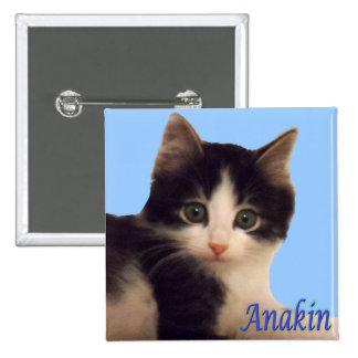 Logotipo de dos piernas del gato de Anakin, botón Pin Cuadrado