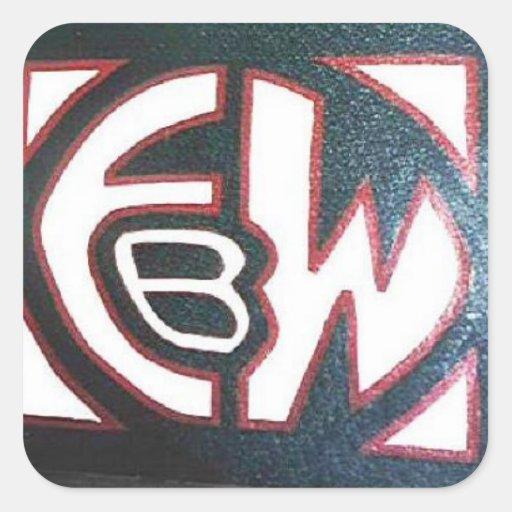 Logotipo de EBW Calcomanías Cuadradass Personalizadas