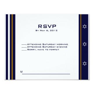 """Logotipo de encargo 3 de Mitzvah RSVP de la barra Invitación 4.25"""" X 5.5"""""""