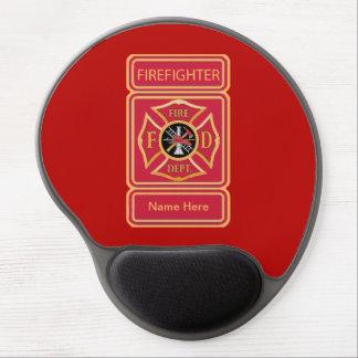 Logotipo de encargo de la cruz maltesa del bombero alfombrilla de raton con gel