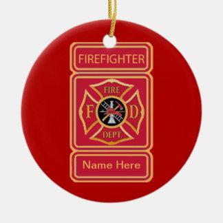 Logotipo de encargo de la cruz maltesa del bombero ornamento de reyes magos