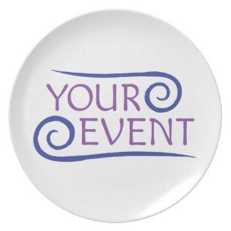 Logotipo de encargo del acontecimiento de la placa plato para fiesta