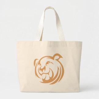 Logotipo de encargo del oso de Brown Bolsa Tela Grande