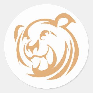 Logotipo de encargo del oso de Brown Pegatina Redonda